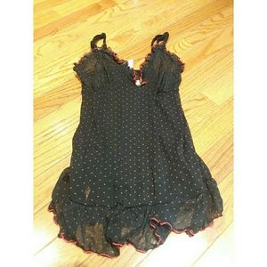 Rampage Black & Red Polka Dot Sexy Sheer Nightie